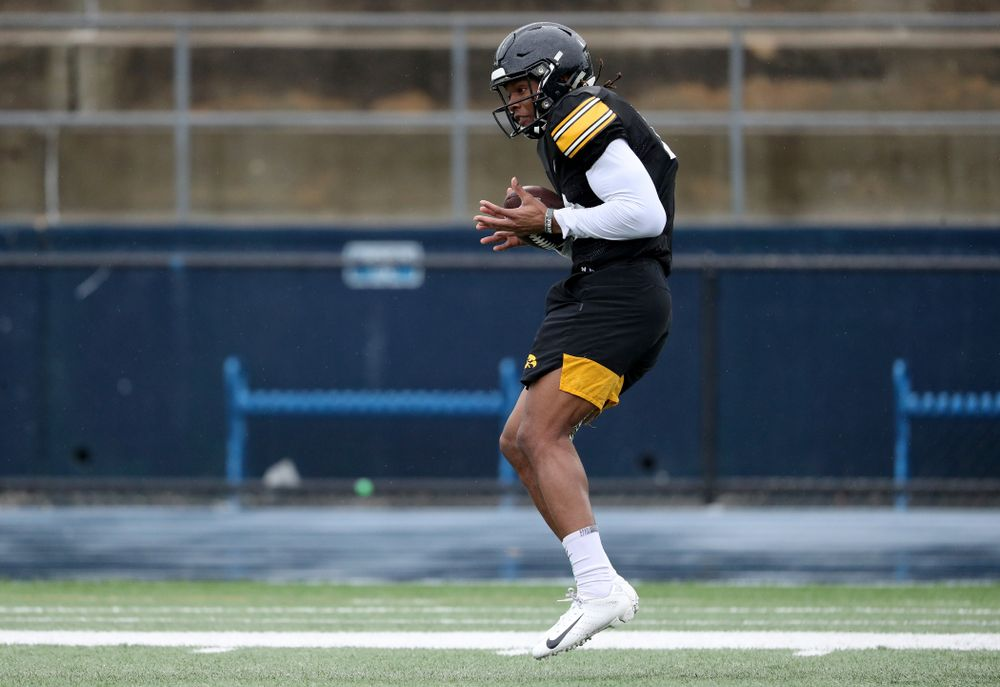 Iowa Hawkeyes wide receiver Brandon Smith (12) makes a catch during practice Monday, December 23, 2019 at Mesa College in San Diego. (Brian Ray/hawkeyesports.com)