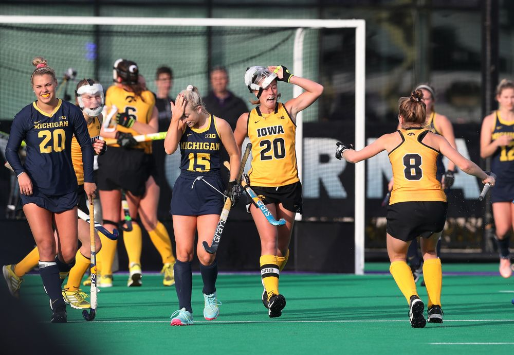 Iowa Hawkeyes Sophie Sunderland (20) celebrates their 2-1 victory over the Michigan Wolverines in the semi-finals of the Big Ten Tournament Friday, November 2, 2018 at Lakeside Field on the campus of Northwestern University in Evanston, Ill. (Brian Ray/hawkeyesports.com)