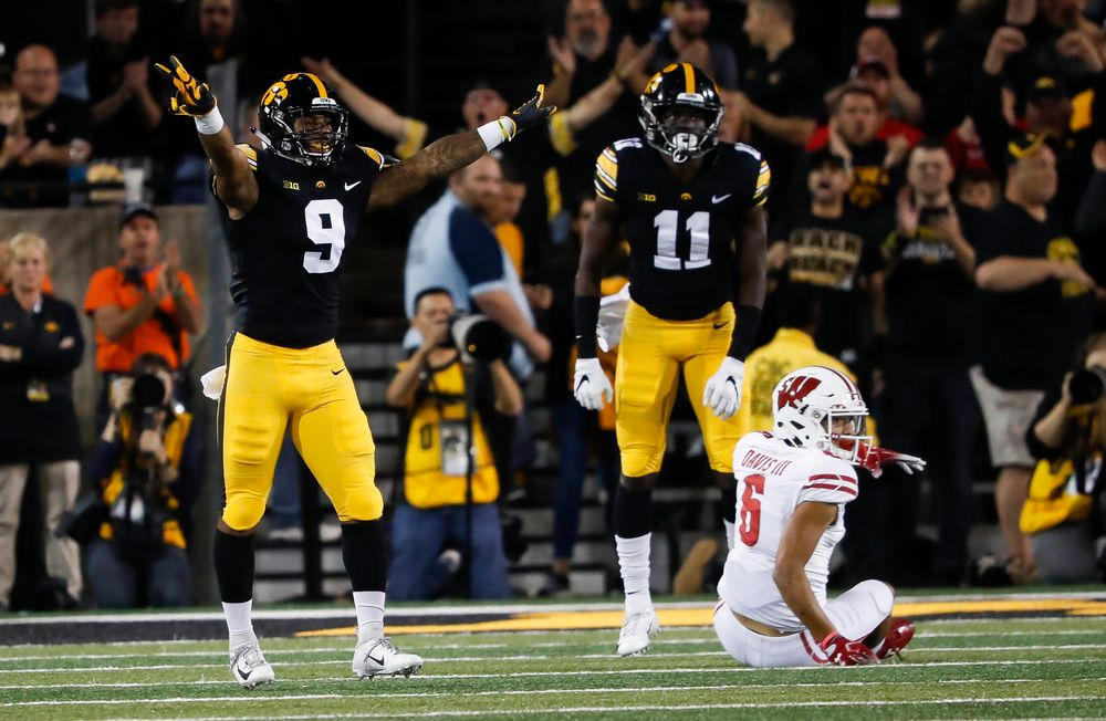Iowa Hawkeyes defensive back Geno Stone (9) reacts after breaking up a pass during a game against Wisconsin at Kinnick Stadium on September 22, 2018. (Tork Mason/hawkeyesports.com)