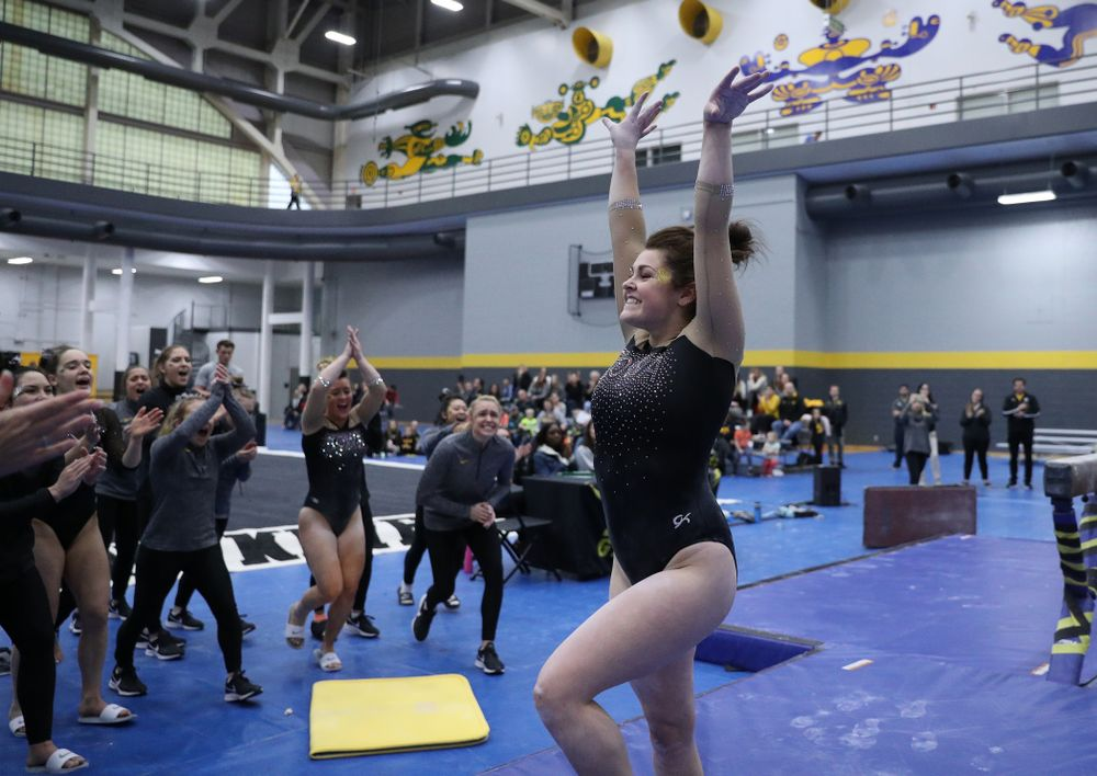 Erin Castle competes on the beam during the Black and Gold intrasquad meet Saturday, December 1, 2018 at the University of Iowa Field House. (Brian Ray/hawkeyesports.com)