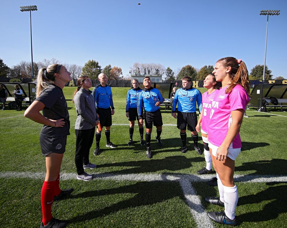 Iowa midfielder Isabella Blackman (6) and defender Hannah Drkulec (17) watch the coin toss before their match at the Iowa Soccer Complex in Iowa City on Sunday, Oct 27, 2019. (Stephen Mally/hawkeyesports.com)