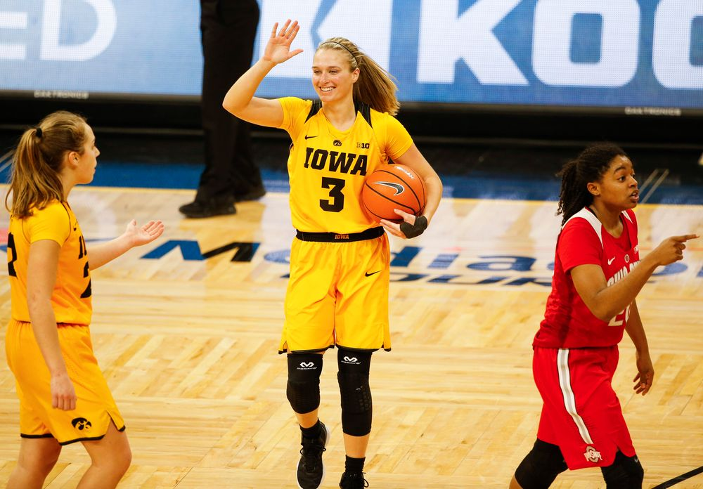 Iowa Hawkeyes guard Makenzie Meyer (3) reacts after being fouled during a game against the Ohio State Buckeyes at Carver-Hawkeye Arena on January 25, 2018. (Tork Mason/hawkeyesports.com)