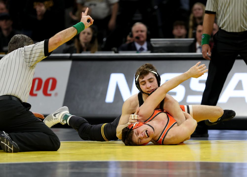 Iowa's Austin DeSanto Wrestles Oklahoma State's Reece Witcraft at 133 pounds Sunday, February 23, 2020 at Carver-Hawkeye Arena. DeSanto won the match by fall. (Brian Ray/hawkeyesports.com)