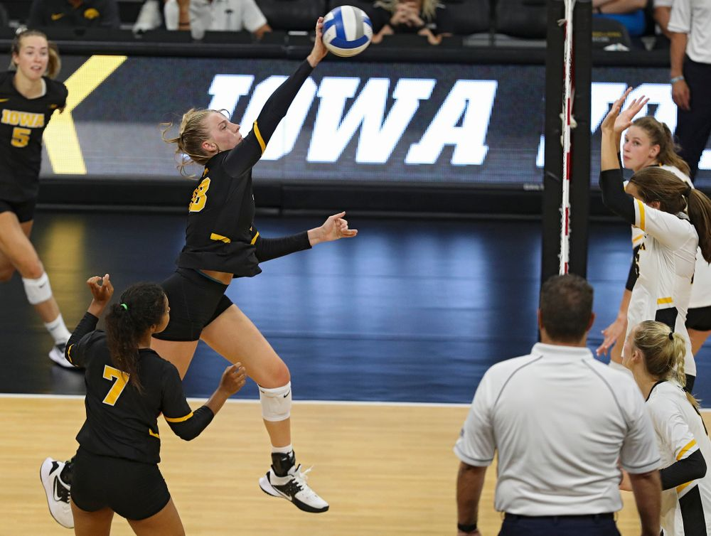 Iowa's Hannah Clayton (18) during the second set of the Black and Gold scrimmage at Carver-Hawkeye Arena in Iowa City on Saturday, Aug 24, 2019. (Stephen Mally/hawkeyesports.com)