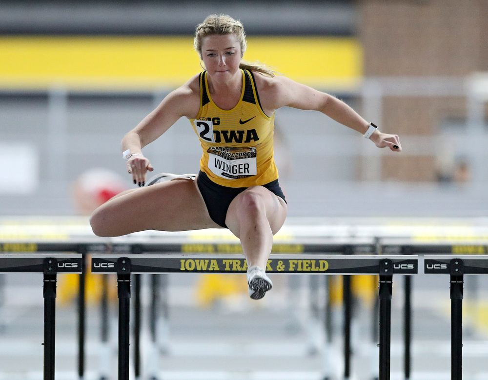 Iowa's Sydney Winger runs the women's 60 meter hurdles premier preliminary event during the Larry Wieczorek Invitational at the Recreation Building in Iowa City on Saturday, January 18, 2020. (Stephen Mally/hawkeyesports.com)