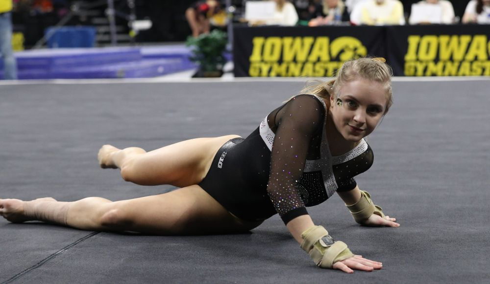 Iowa's Lauren Guerin competes on the floor against the Rutgers Scarlet Knights Saturday, January 26, 2019 at Carver-Hawkeye Arena. (Brian Ray/hawkeyesports.com)