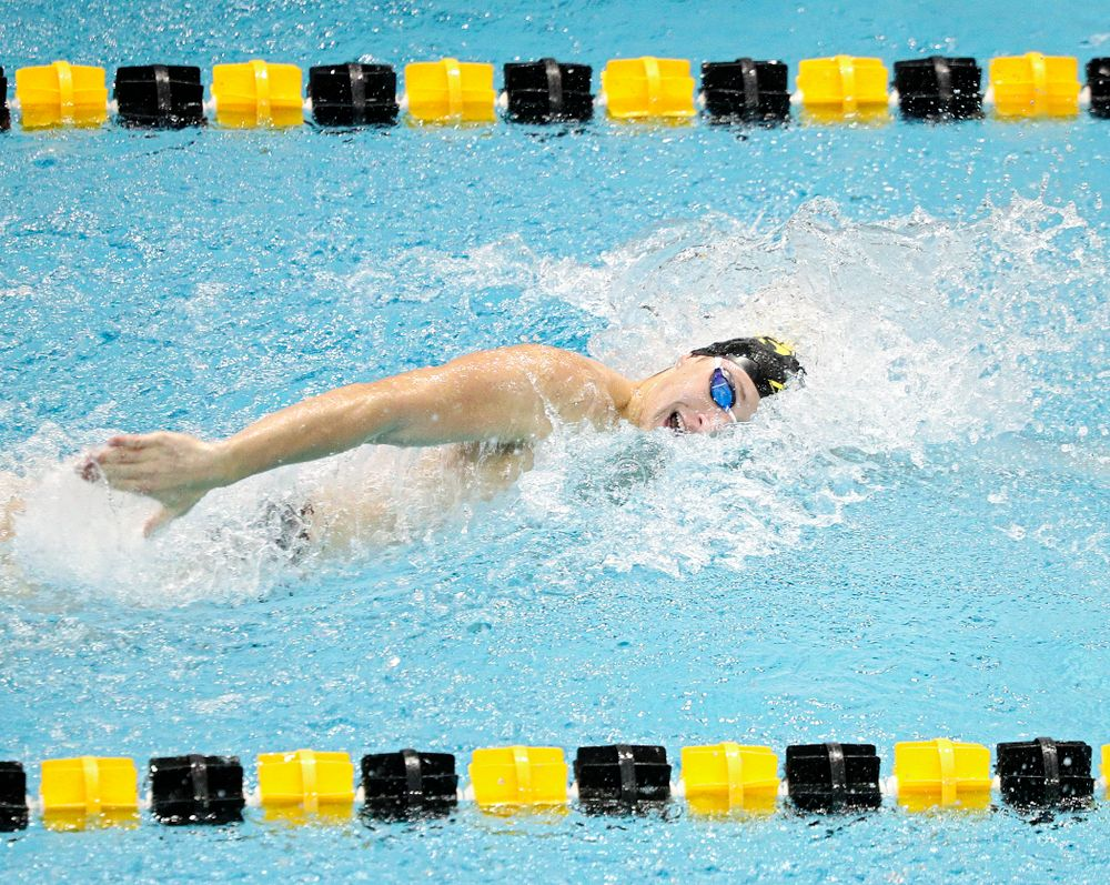 Iowa's Joe Myhre swims the men's 100-yard freestyle event during their meet against Michigan State and Northern Iowa at the Campus Recreation and Wellness Center in Iowa City on Friday, Oct 4, 2019. (Stephen Mally/hawkeyesports.com)