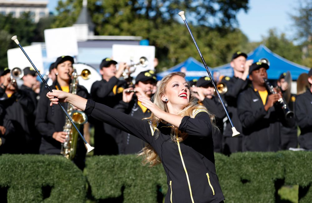 Hawkeye Marching Band Golden Girl Kylene Spanbauer as BTN Tailgate does a live show Saturday, September 22, 2018 at Hubbard Park on the University of Iowa Campus. (Brian Ray/hawkeyesports.com)