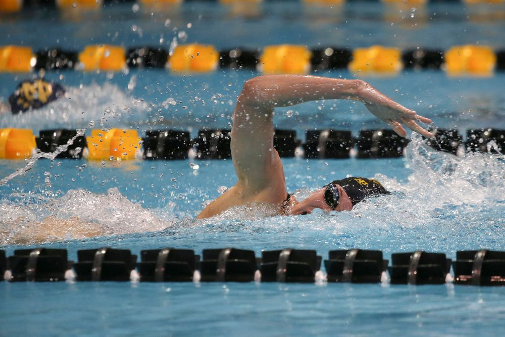 Iowa's Alyssa Fluit swims the 200-yard freestyle during the Iowa swimming and diving meet vs Notre Dame and Illinois on Saturday, January 11, 2020 at the Campus Recreation and Wellness Center. (Lily Smith/hawkeyesports.com)
