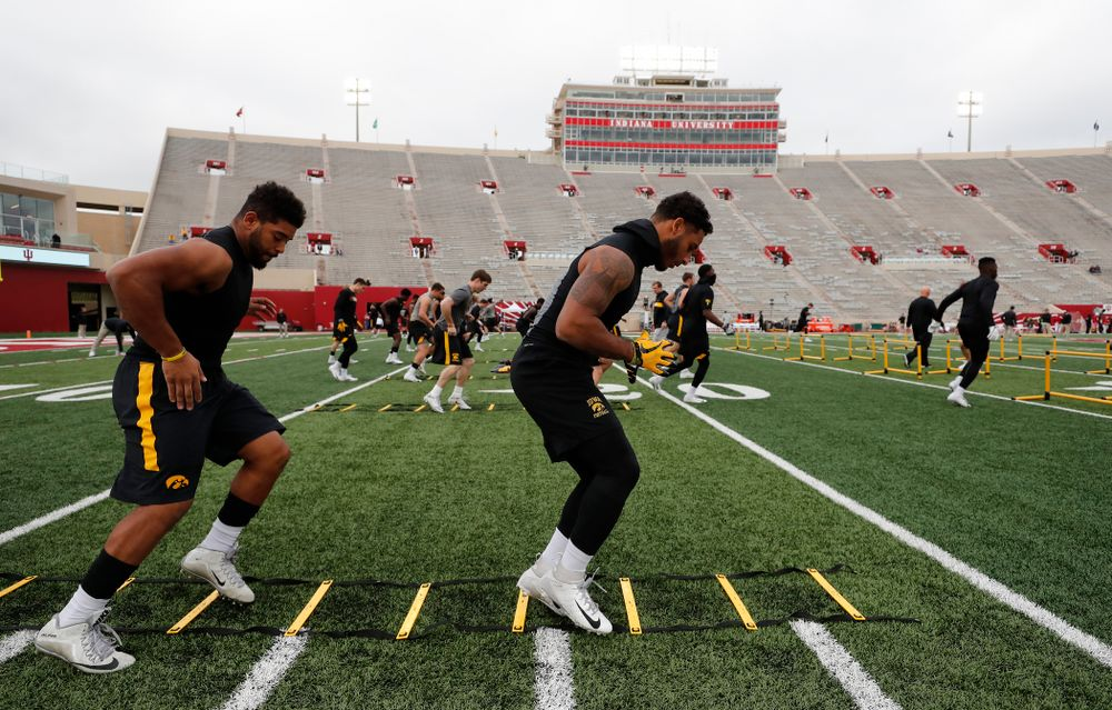 Iowa Hawkeyes defensive back Geno Stone (9) and running back Toren Young (28) against the Indiana Hoosiers Saturday, October 13, 2018 at Memorial Stadium, in Bloomington, Ind. (Brian Ray/hawkeyesports.com)