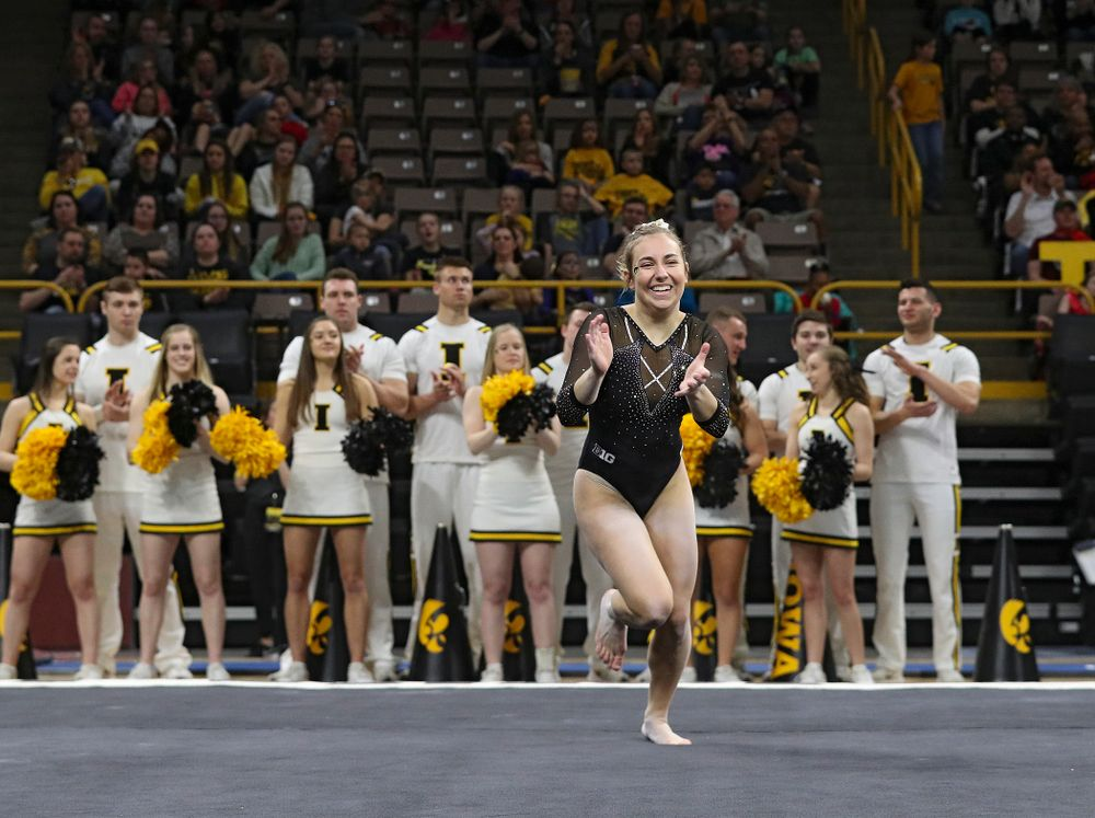 Iowa's Alex Greenwald competes on the floor during their meet at Carver-Hawkeye Arena in Iowa City on Sunday, March 8, 2020. (Stephen Mally/hawkeyesports.com)