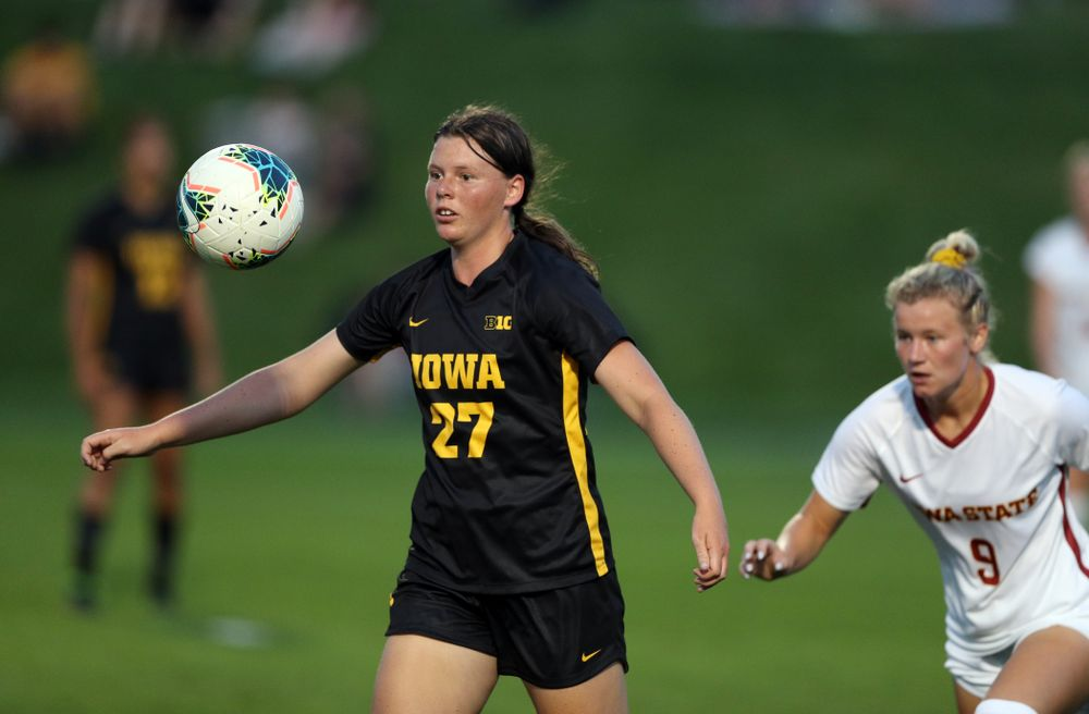 Iowa Hawkeyes forward Samantha Tawharu (27) during a 2-1 victory over the Iowa State Cyclones Thursday, August 29, 2019 in the Iowa Corn Cy-Hawk series at the Iowa Soccer Complex. (Brian Ray/hawkeyesports.com)