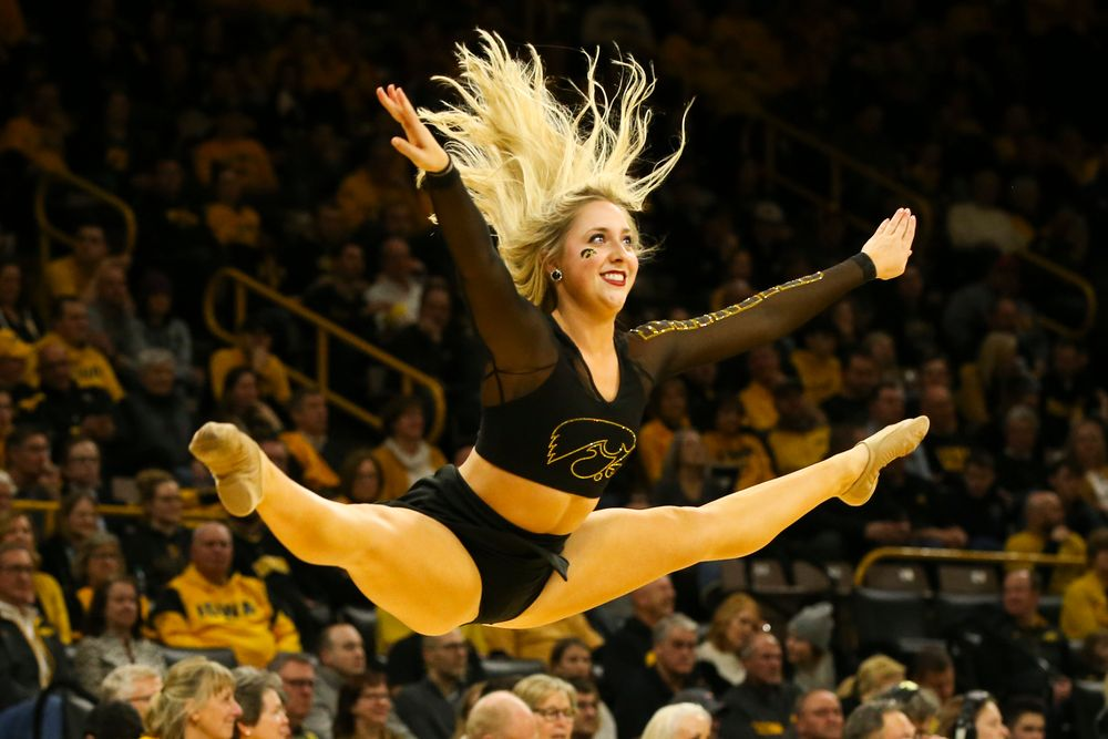An Iowa Dance Team member performs during the Iowa men's basketball game vs Rutgers on Wednesday, January 22, 2020 at Carver-Hawkeye Arena. (Lily Smith/hawkeyesports.com)