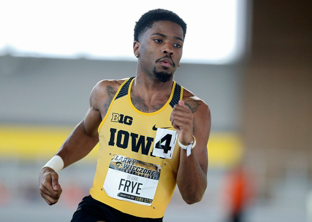 Iowa's DeJuan Frye runs the men's 400 meter dash premier event during the Larry Wieczorek Invitational at the Recreation Building in Iowa City on Saturday, January 18, 2020. (Stephen Mally/hawkeyesports.com)