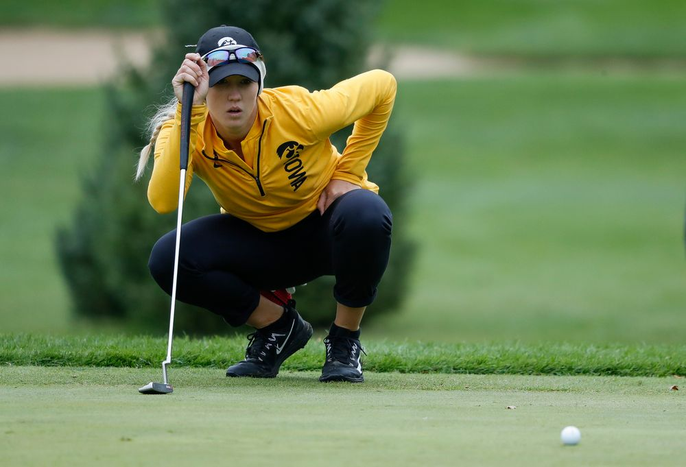 Iowa's Shawn Rennegarbe lines up a putt during the Diane Thomason Invitational at Finkbine Golf Course on September 29, 2018. (Tork Mason/hawkeyesports.com)