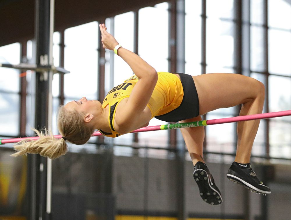 Iowa's Gillian Urycki competes in the women's high jump event during the Jimmy Grant Invitational at the Recreation Building in Iowa City on Saturday, December 14, 2019. (Stephen Mally/hawkeyesports.com)