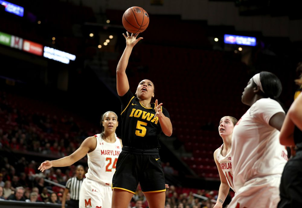 Iowa Hawkeyes guard Alexis Sevillian (5) against the Maryland Terrapins Thursday, February 13, 2020 at the Xfinity Center in College Park, MD. (Brian Ray/hawkeyesports.com)