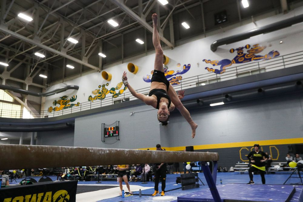 Allie Gilchrist performs on the beam during the Iowa women's gymnastics Black and Gold Intraquad Meet on Saturday, December 7, 2019 at the UI Field House. (Lily Smith/hawkeyesports.com)