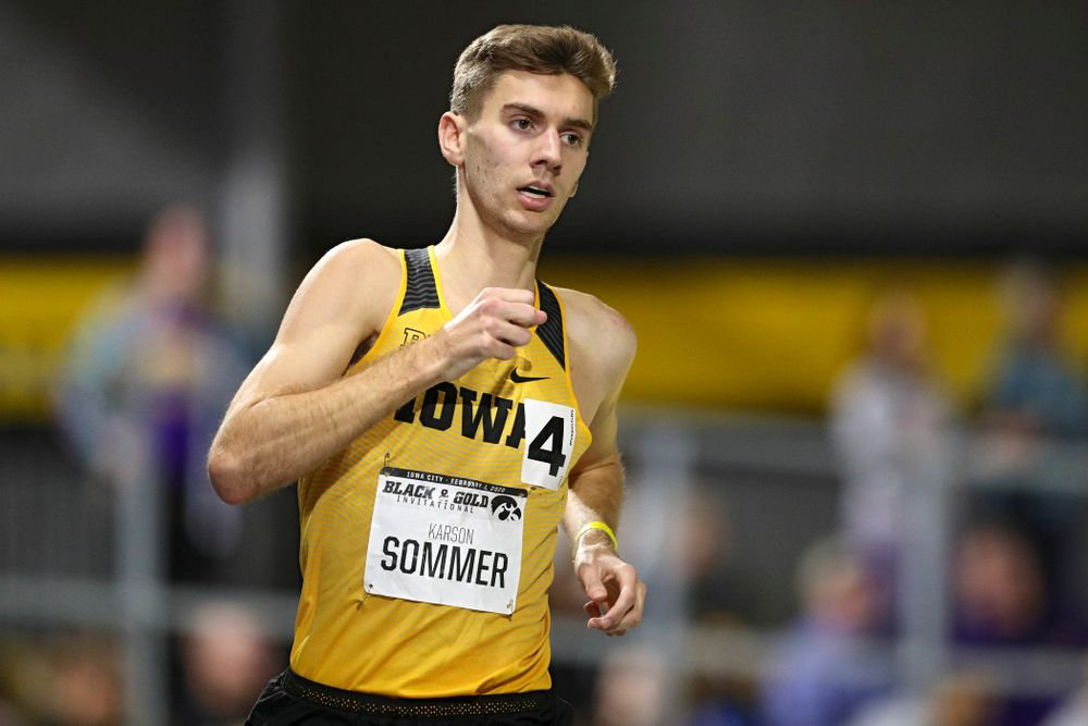 Iowa's Karson Sommer runs the men's 3000 meter run event at the Black and Gold Invite at the Recreation Building in Iowa City on Saturday, February 1, 2020. (Stephen Mally/hawkeyesports.com)