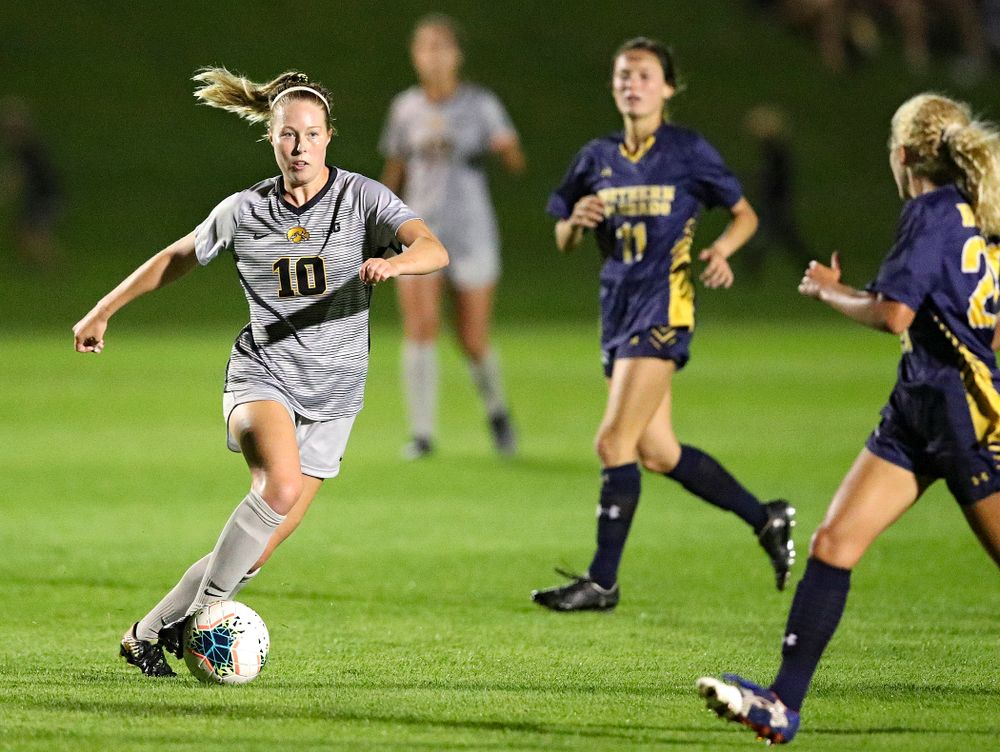 Iowa midfielder/defender Natalie Winters (10) moves with the ball during the second half of their match at the Iowa Soccer Complex in Iowa City on Friday, Sep 13, 2019. (Stephen Mally/hawkeyesports.com)