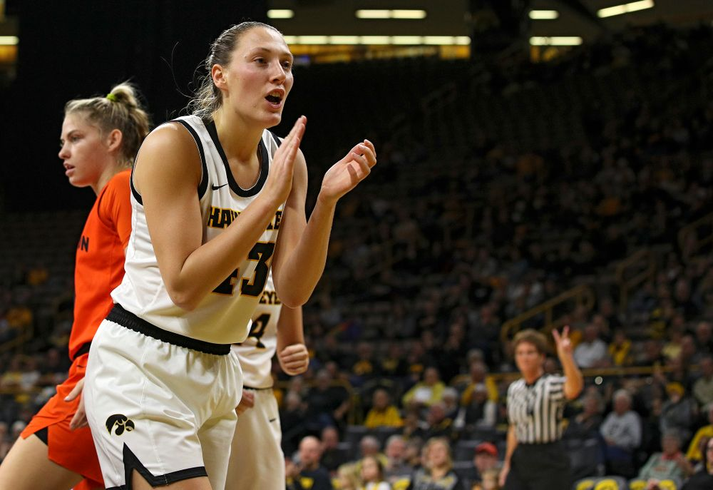 Iowa forward Amanda Ollinger (43) claps during the first quarter of their overtime win against Princeton at Carver-Hawkeye Arena in Iowa City on Wednesday, Nov 20, 2019. (Stephen Mally/hawkeyesports.com)