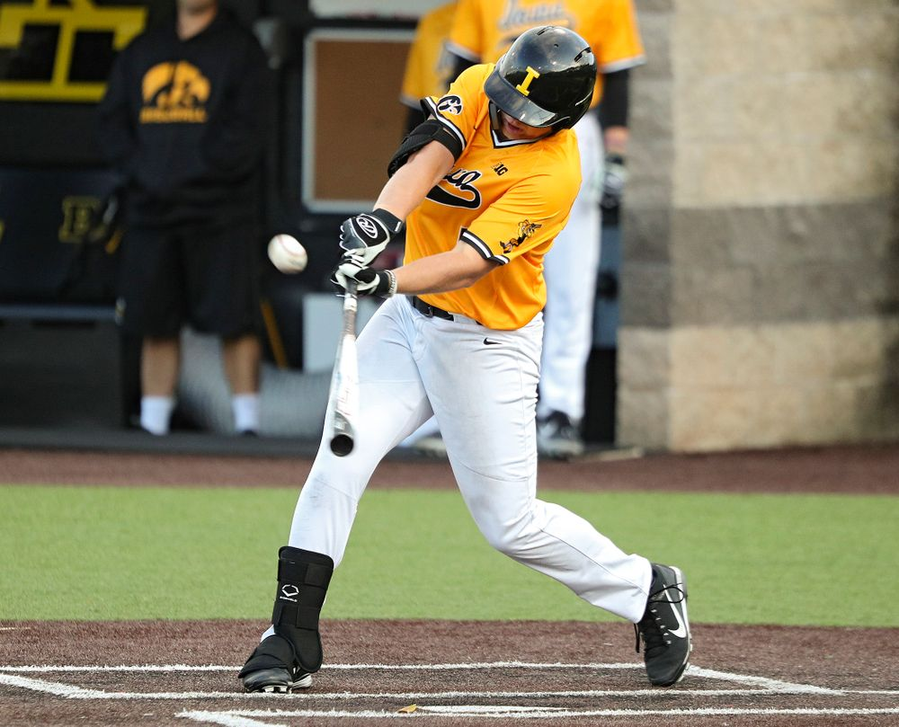 Iowa's Zeb Adreon (5) drives a pitch for a hit during the sixth inning of the first game of the Black and Gold Fall World Series at Duane Banks Field in Iowa City on Tuesday, Oct 15, 2019. (Stephen Mally/hawkeyesports.com)