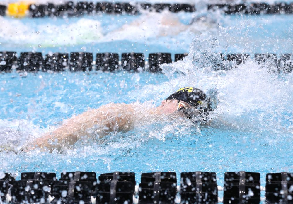 Iowa's Matt Kamin competes in the 100-yard freestyle during the 2019 Big Ten Men's Swimming and Diving Championships Saturday, March 2, 2019 at the Campus Wellness and Recreation Center. (Brian Ray/hawkeyesports.com)