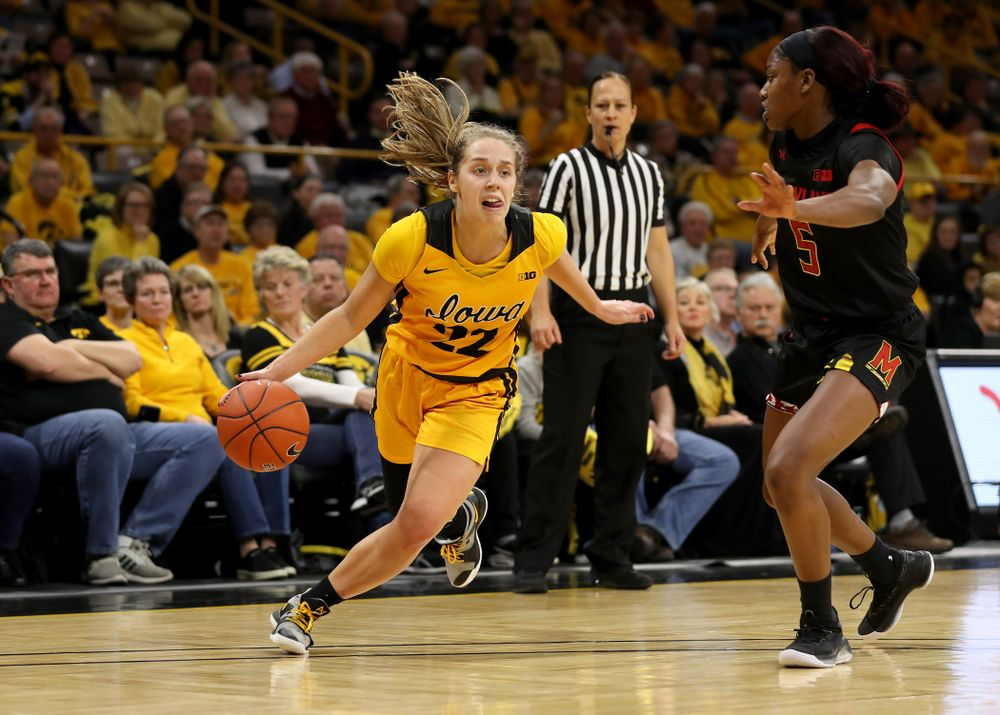 Iowa Hawkeyes guard Kathleen Doyle (22) against the Maryland Terrapins Thursday, January 9, 2020 at Carver-Hawkeye Arena. (Brian Ray/hawkeyesports.com)