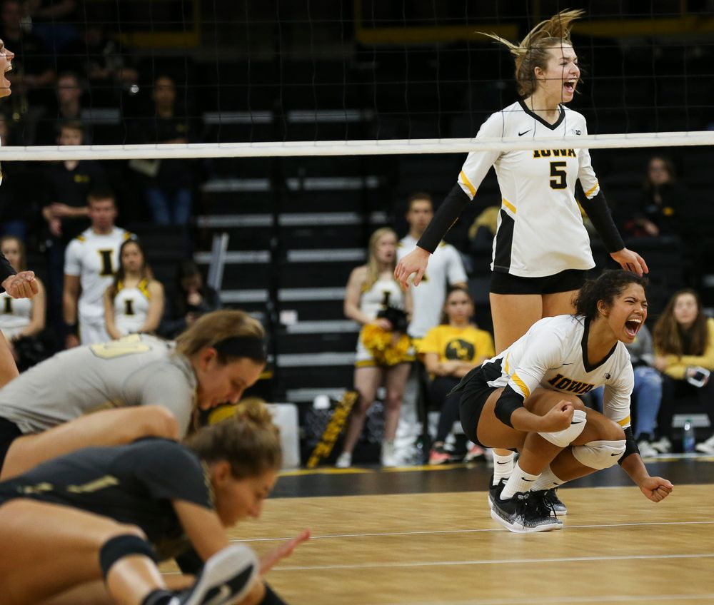 Iowa Hawkeyes setter Brie Orr (7) reacts after winning a point during a game against Purdue at Carver-Hawkeye Arena on October 13, 2018. (Tork Mason/hawkeyesports.com)