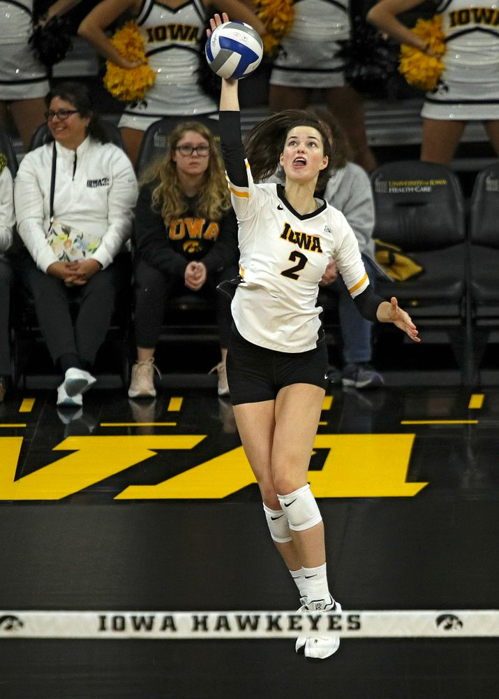 Iowa's Courtney Buzzerio (2) lines up an ace serve during the second set of their match against Nebraska at Carver-Hawkeye Arena in Iowa City on Saturday, Nov 9, 2019. (Stephen Mally/hawkeyesports.com)