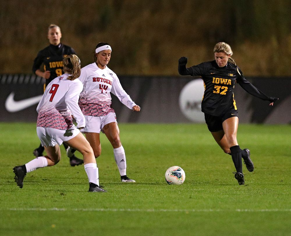 Iowa forward Gianna Gourley (32) moves with the ball during the second half of their match at the Iowa Soccer Complex in Iowa City on Friday, Oct 11, 2019. (Stephen Mally/hawkeyesports.com)