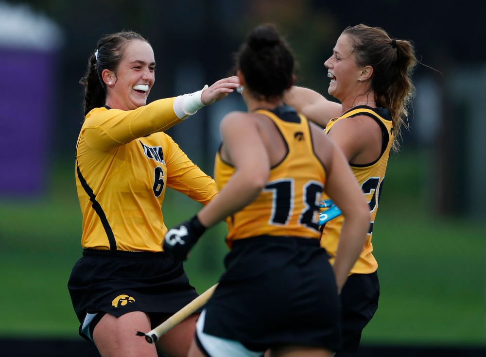 Iowa Hawkeyes Anthe Nijziel (6) and Sophie Sunderland (20) celebrate a goal against Stanford Sunday, October 7, 2018 at Grant Field. (Brian Ray/hawkeyesports.com)