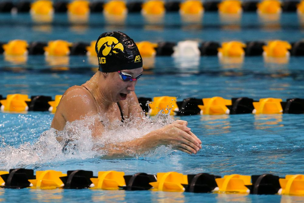 Iowa's Zoe Mekus during Iowa swim and dive vs Minnesota on Saturday, October 26, 2019 at the Campus Wellness and Recreation Center. (Lily Smith/hawkeyesports.com)