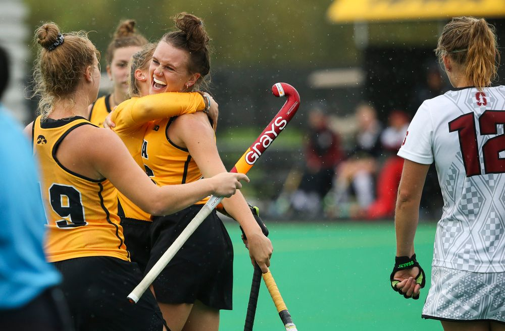 Iowa Hawkeyes forward Madeleine Murphy (26) celebrates after scoring a goal during a game against Stanford at Grant Field on October 7, 2018. (Tork Mason/hawkeyesports.com)
