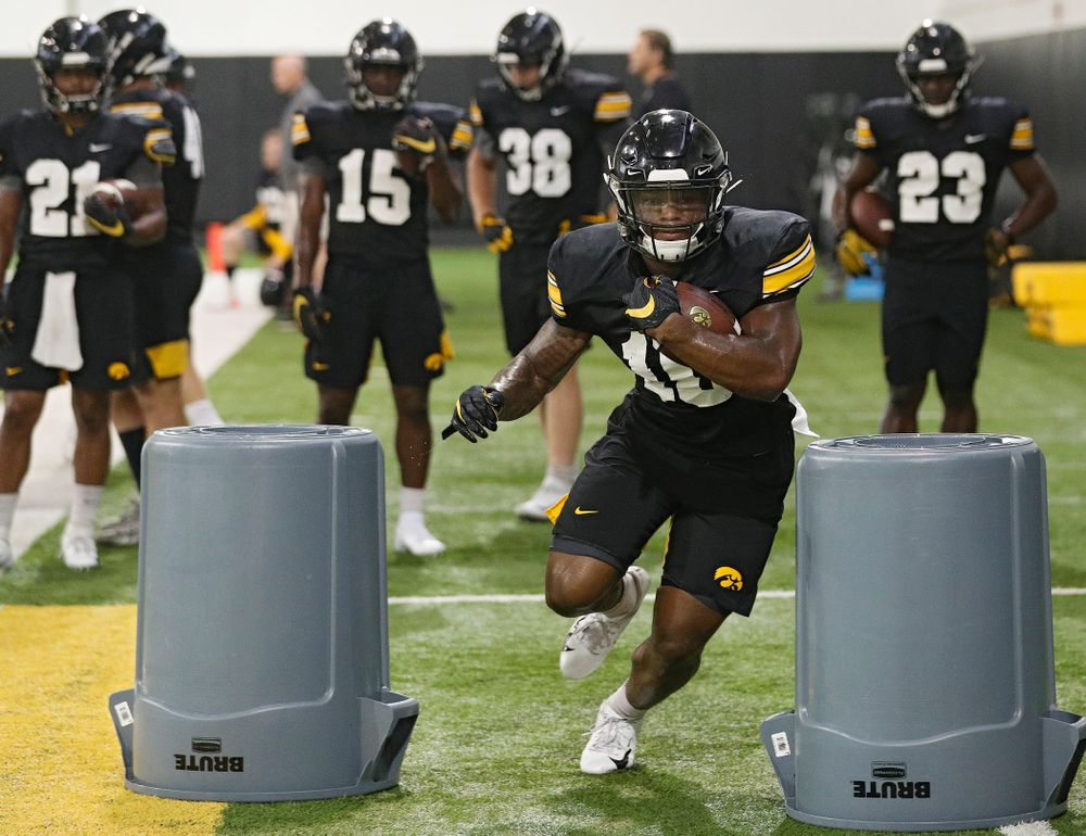 Iowa Hawkeyes running back Mekhi Sargent (10) runs a drill during Fall Camp Practice No. 9 at the Hansen Football Performance Center in Iowa City on Monday, Aug 12, 2019. (Stephen Mally/hawkeyesports.com)