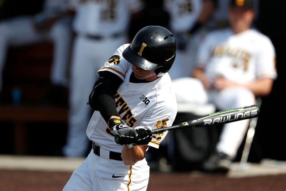 Iowa Hawkeyes outfielder Ben Norman (9) against the Missouri Tigers Tuesday, May 1, 2018 at Duane Banks Field. (Brian Ray/hawkeyesports.com)