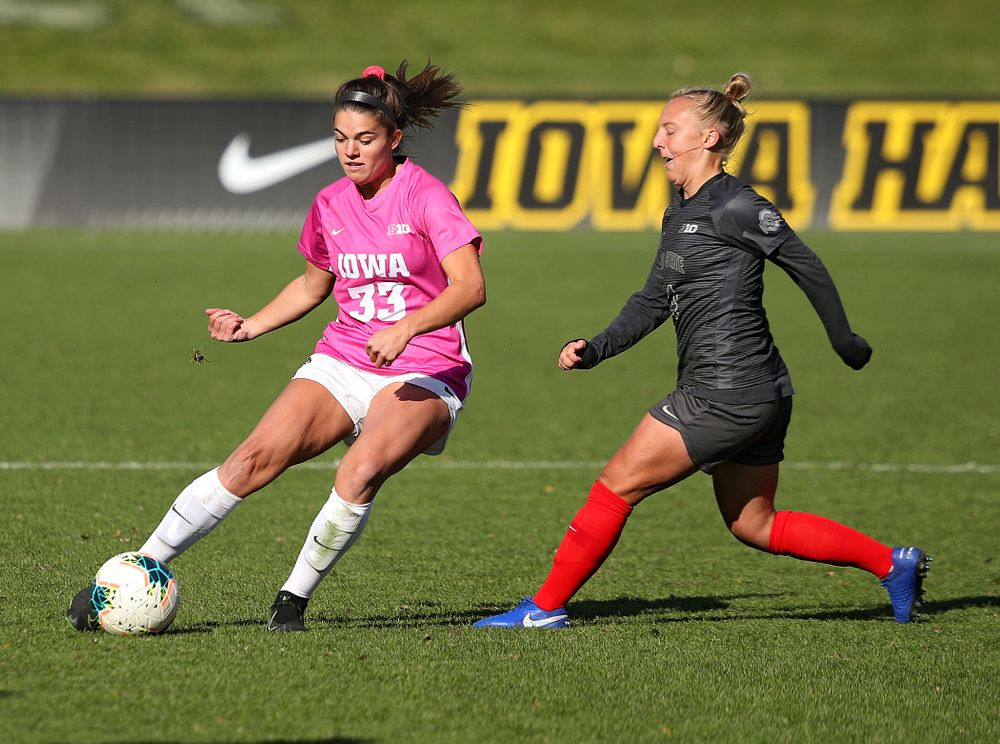 Iowa defender Riley Burns (33) moves with the ball during the first overtime of their match at the Iowa Soccer Complex in Iowa City on Sunday, Oct 27, 2019. (Stephen Mally/hawkeyesports.com)