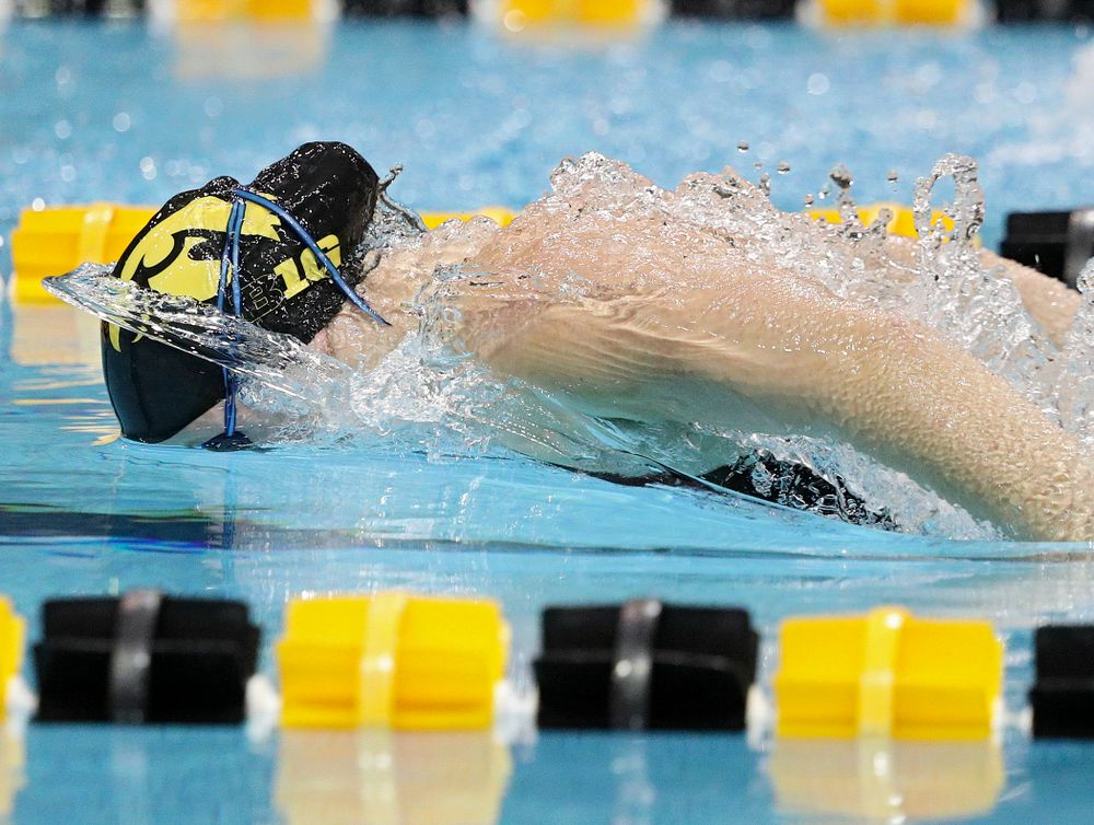 Iowa's Ariel Wooden swims the butterfly section of the 100-yard individual medley event during their meet against Michigan State at the Campus Recreation and Wellness Center in Iowa City on Thursday, Oct 3, 2019. (Stephen Mally/hawkeyesports.com)