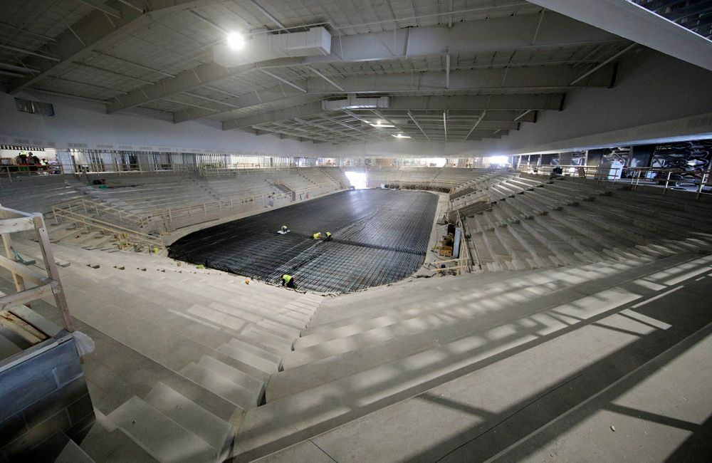Work continues on Xtream Arena in Coralville on Thursday, January 30, 2020. (Stephen Mally/hawkeyesports.com)