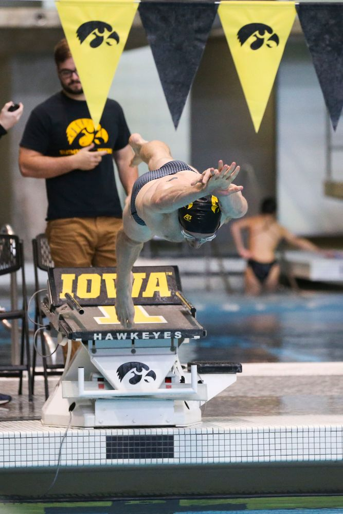 Iowa's Sam Dumford during Iowa swim and dive vs Minnesota on Saturday, October 26, 2019 at the Campus Wellness and Recreation Center. (Lily Smith/hawkeyesports.com)