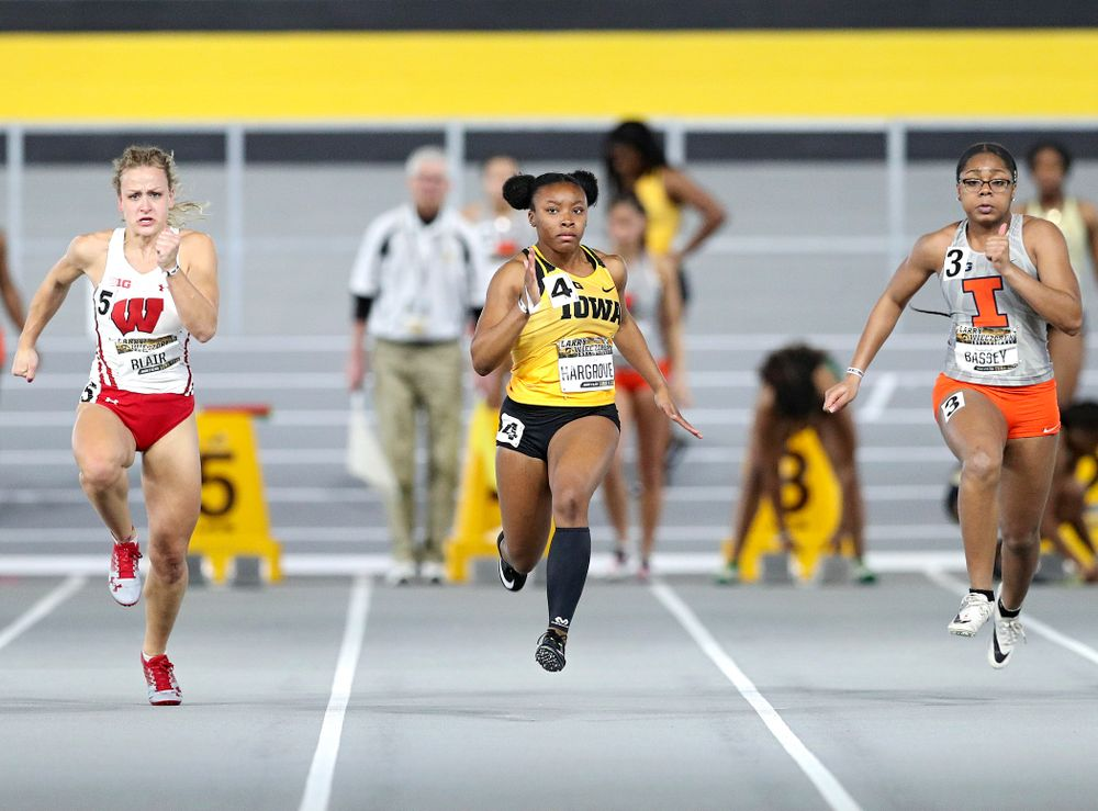Iowa's Lasarah Hargrove runs the women's 60 meter dash premier preliminary event during the Larry Wieczorek Invitational at the Recreation Building in Iowa City on Saturday, January 18, 2020. (Stephen Mally/hawkeyesports.com)