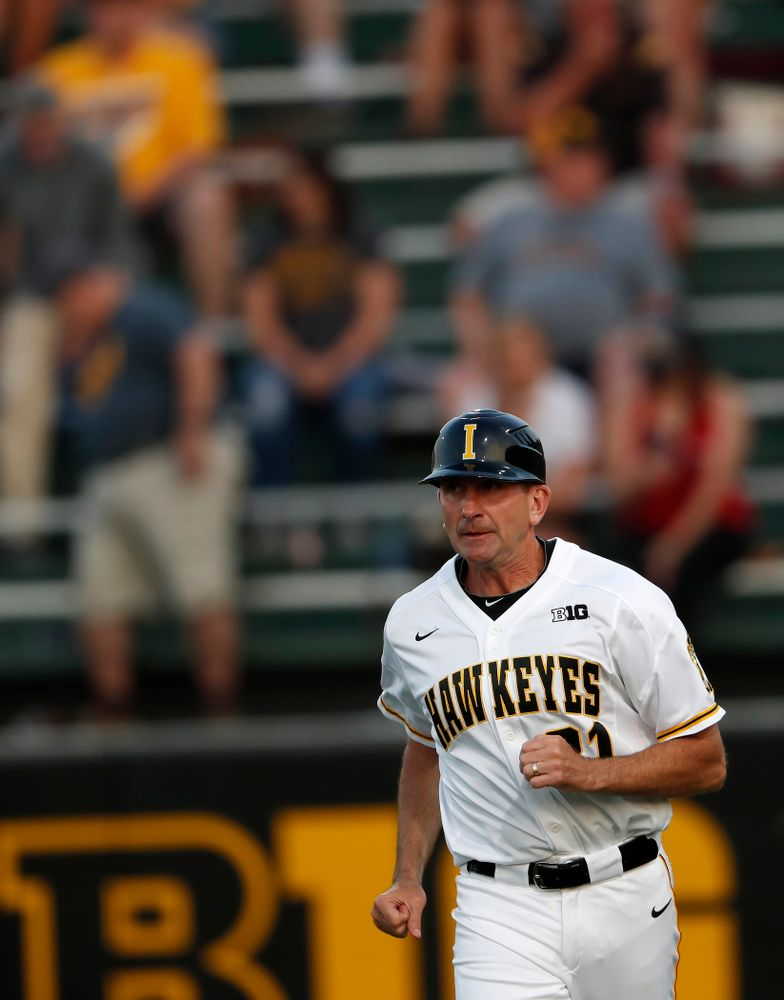 Iowa Hawkeyes head coach Rick Heller against the Penn State Nittany Lions Thursday, May 17, 2018 at Duane Banks Field. (Brian Ray/hawkeyesports.com)