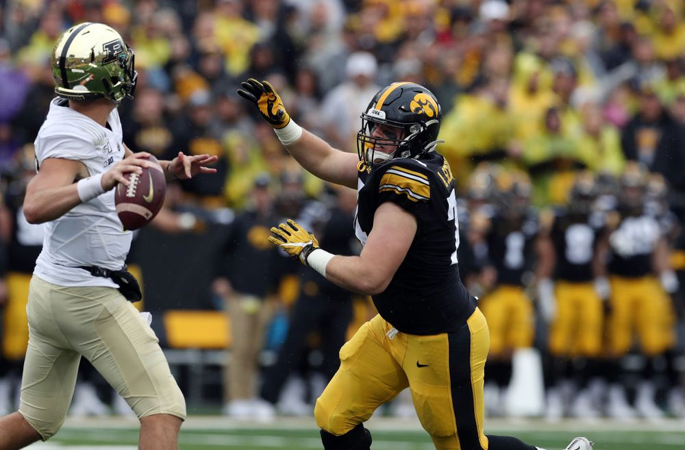 Iowa Hawkeyes defensive lineman Austin Schulte (74) against the Purdue Boilermakers Saturday, October 19, 2019 at Kinnick Stadium. (Brian Ray/hawkeyesports.com)