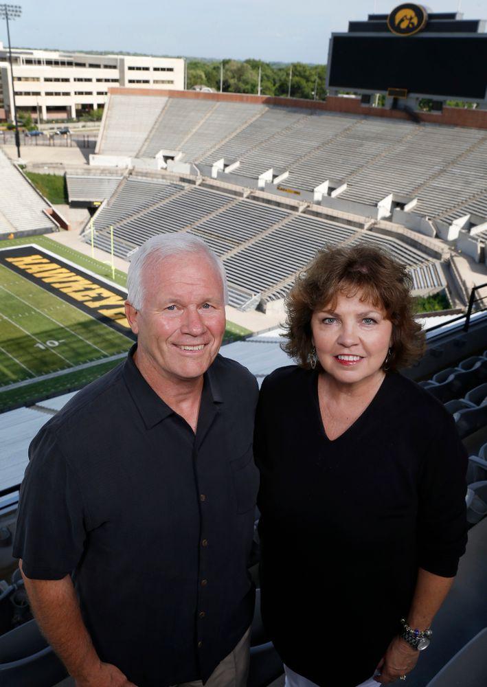 Iowa Football Defensive Line coach Reese Morgan and his wife Joanna Monday, June 20, 2016 at Kinnick Stadium. (Brian Ray/hawkeyesports.com)