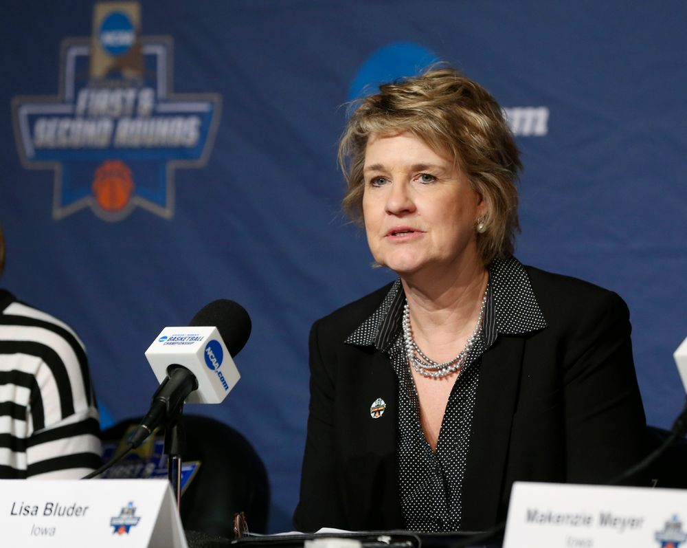Iowa Hawkeyes head coach Lisa Bluder gives an opening statement during a press conference after winning their second round game in the 2019 NCAA Women's Basketball Tournament at Carver Hawkeye Arena in Iowa City on Sunday, Mar. 24, 2019. (Stephen Mally for hawkeyesports.com)