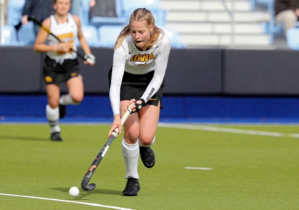 Iowa's Sofie Stribos (9) moves with the ball during the first quarter of their NCAA Tournament Second Round match against North Carolina at Karen Shelton Stadium in Chapel Hill, N.C. on Sunday, Nov 17, 2019. (Stephen Mally/hawkeyesports.com)