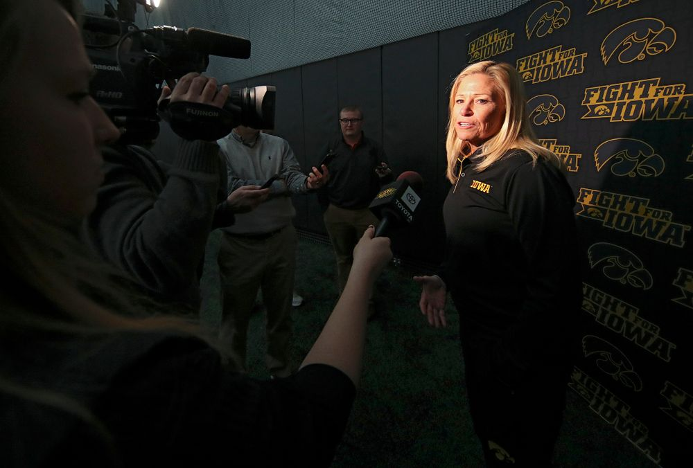 Iowa head coach Renee Gillispie answers questions during Iowa Softball Media Day at the Hawkeye Tennis and Recreation Complex in Iowa City on Thursday, January 30, 2020. (Stephen Mally/hawkeyesports.com)