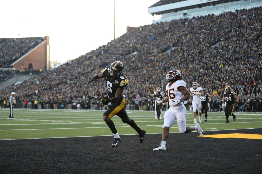Iowa Hawkeyes wide receiver Ihmir Smith-Marsette (6) against Minnesota Saturday, September 28, 2019 at Kinnick Stadium. (Max Allen/hawkeyesports.com)