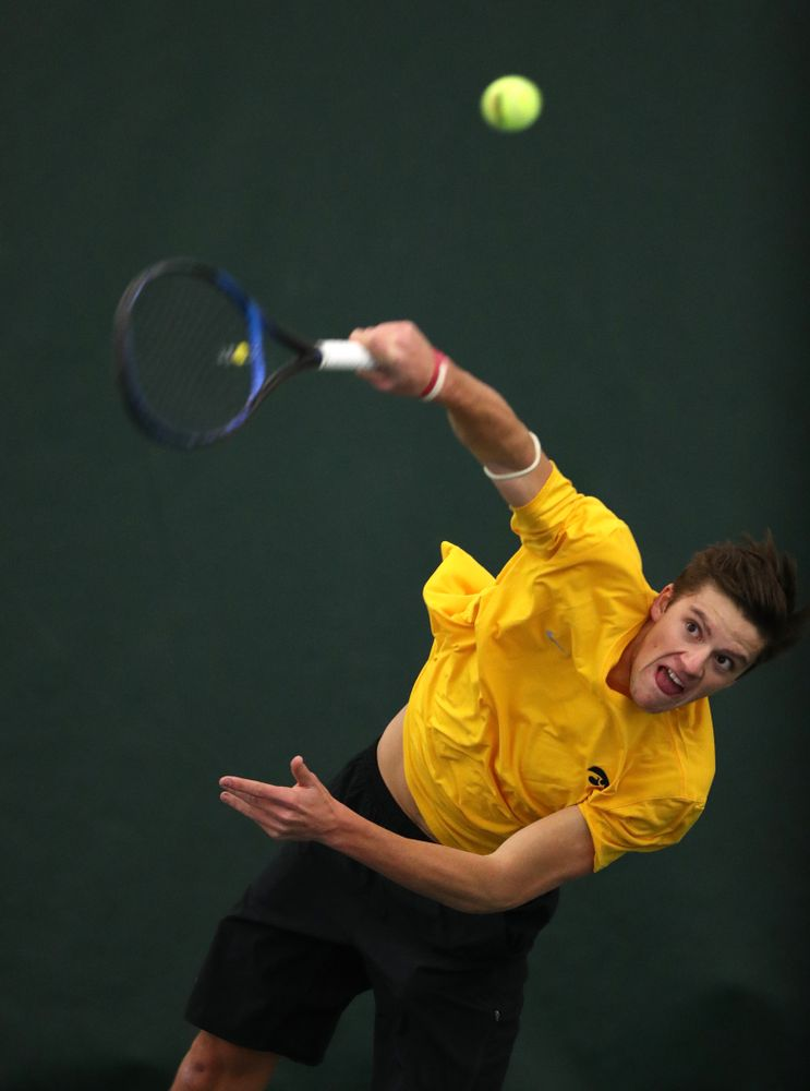 Joe Tyler against the Butler Bulldogs Sunday, January 27, 2019 at the Hawkeye Tennis and Recreation Complex. (Brian Ray/hawkeyesports.com)