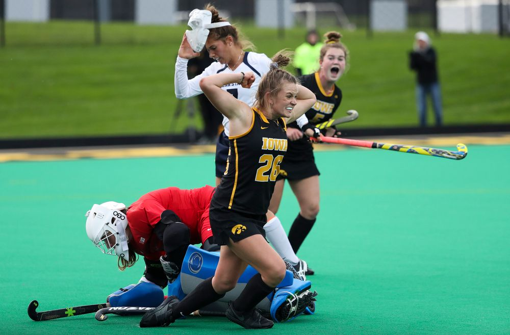 Iowa Hawkeyes forward Madeleine Murphy (26) celebrates after scoring a goal during a game against No. 6 Penn State at Grant Field on October 12, 2018. (Tork Mason/hawkeyesports.com)